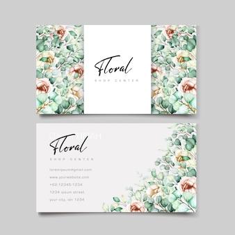 Watercolor eucalyptus business card template