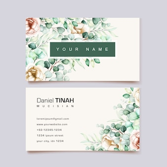 Watercolor eucalyptus business card template