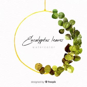 Watercolor eucalyptus frame background