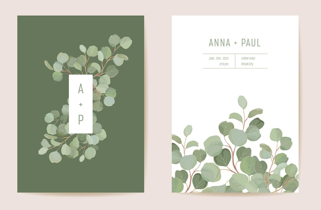 水彩ユーカリ、緑の葉の枝花のウェディングカード。ベクトル熱帯の葉の緑の招待状。自由奔放に生きるテンプレートフレーム。ボタニカルセーブザデイトの葉のカバー、モダンなデザインのポスター