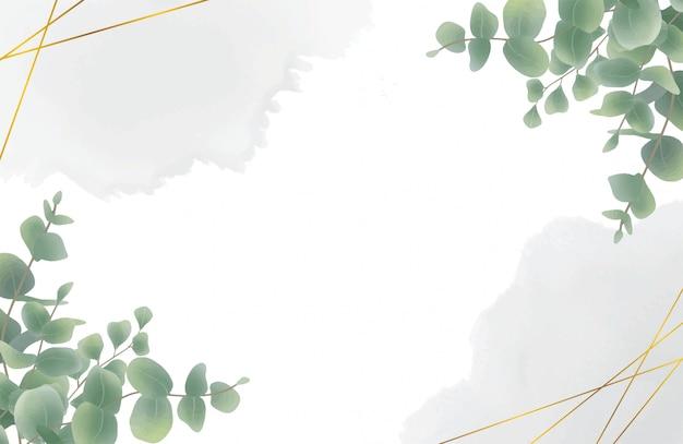 Watercolor eucalyptus leaf background