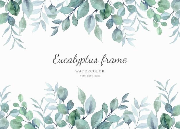 Watercolor eucalyptus leaf frame background