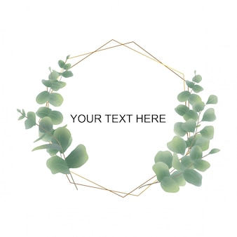 Watercolor eucalyptus leaf frame for wedding invitations