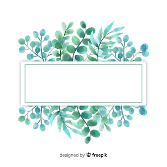 Watercolor eucalyptus leaves background