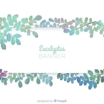 Watercolor eucalyptus leaves banner