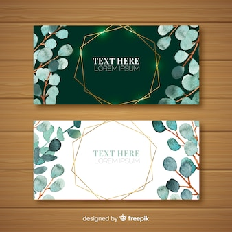 Watercolor eucalyptus leaves banners