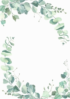 Watercolor eucalyptus leaves frame.