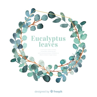 Watercolor eucalyptus leaves wreath