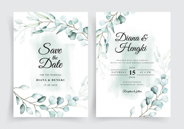 Watercolor eucalyptus wedding card invitation template
