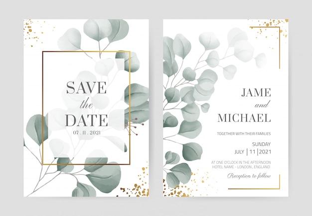 Акварель эвкалипта свадебные приглашения в золотой раме с золотым порошком красивый белый фон карты. установите шаблон карты.