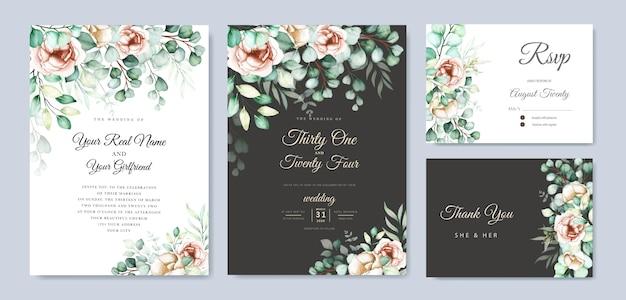 水彩ユーカリの結婚式の招待カードセット