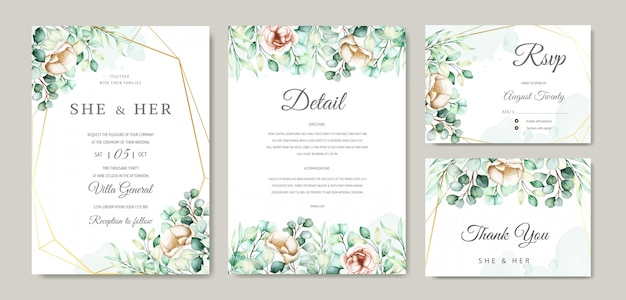 Watercolor eucalyptus wedding invitation card set