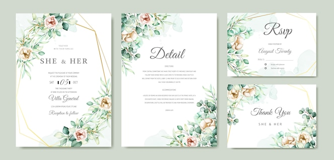 Watercolor eucalyptus wedding invitation card set
