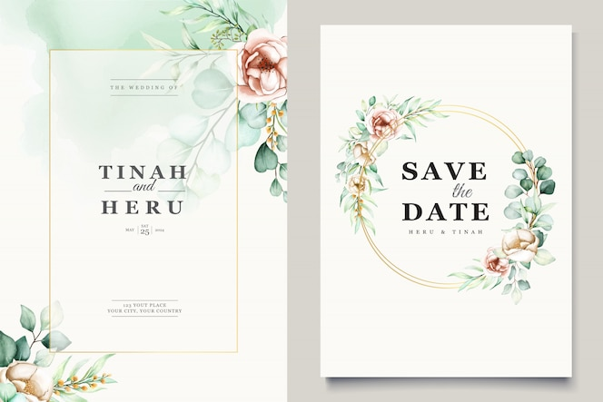 Watercolor eucalyptus wedding invitation card template