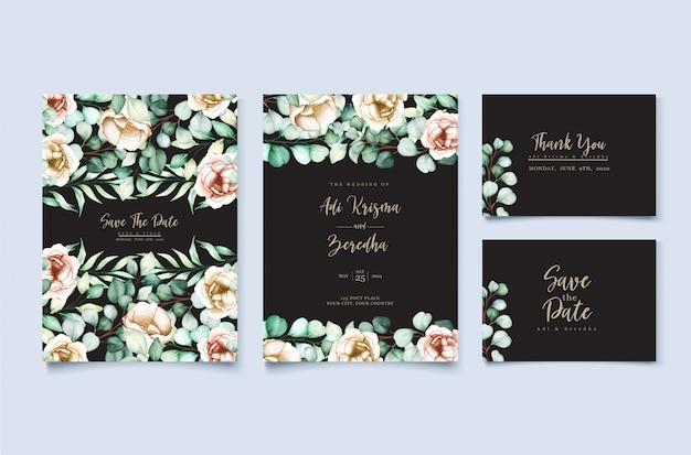 Watercolor eucalyptus wedding invitation card template