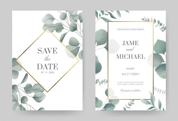 Акварель эвкалипта свадебные приглашения с золотой рамкой. красивый белый фон карты. установите шаблон карты.