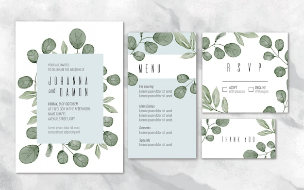 Watercolor eucalyptus wedding stationery