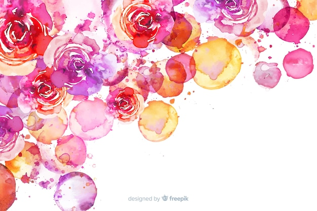 Watercolor exotic colorful floral background