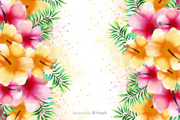 水彩のエキゾチックなカラフルな花の背景