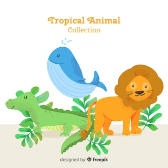 Watercolor exotic tropical animal collection