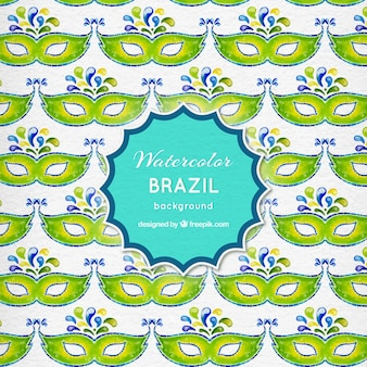 Watercolor eye masks brazil background