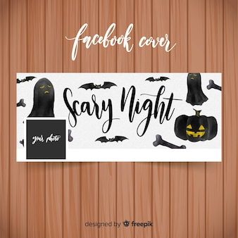 Watercolor facebook banner with halloween concept
