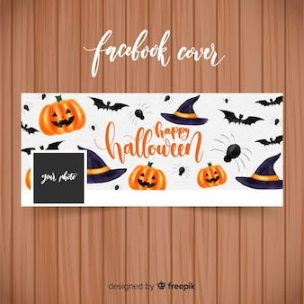 Watercolor facebook banner with halloween concept
