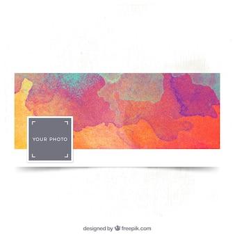 Watercolor facebook cover in warm tones