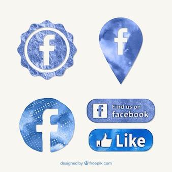 Watercolor facebook icons
