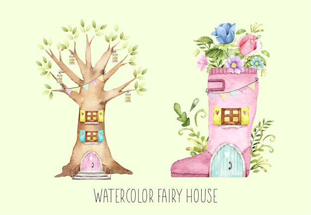 水彩の妖精の家セット