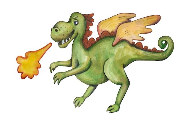 Акварельный сказочный дракон. милый мультфильм стиль иллюстрации. фантастическая история.