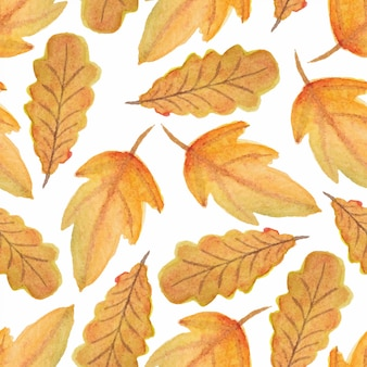 Watercolor fall autumn leaf seamless pattern