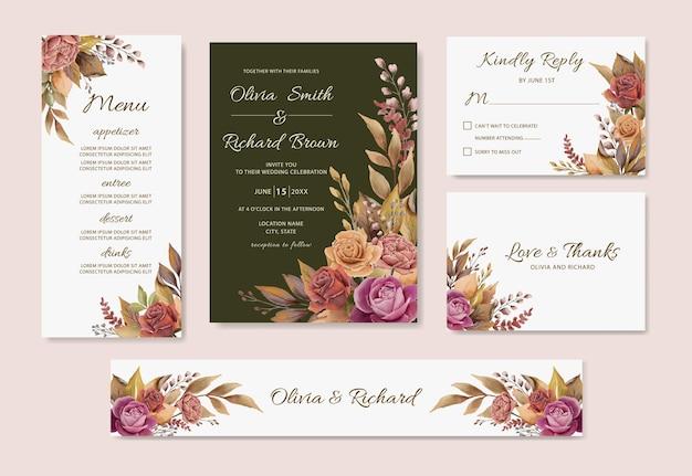 Акварель осень цветочные сушеные листья набор свадебных приглашений