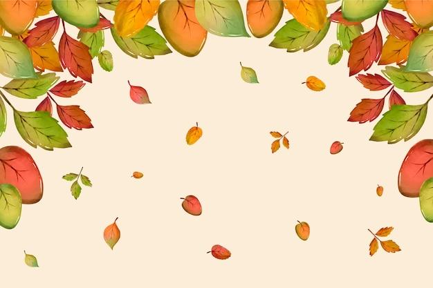 Watercolor fall leaves falling