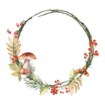 Акварель осень круглая рамка с листьями, ягодами рябины, грибами, желудями.