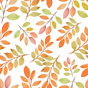 Watercolor fall season nature seamless pattern with branch