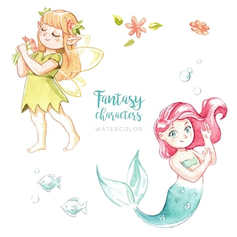 Watercolor fantasy characters