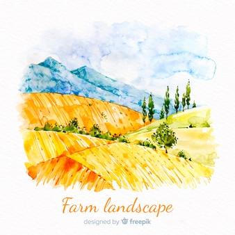 Watercolor farm landscape background