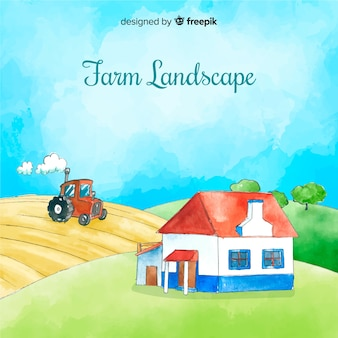 Watercolor farm landscape background