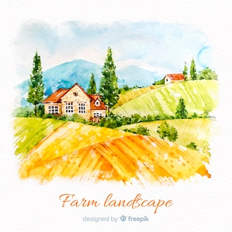 Watercolor farm landscape