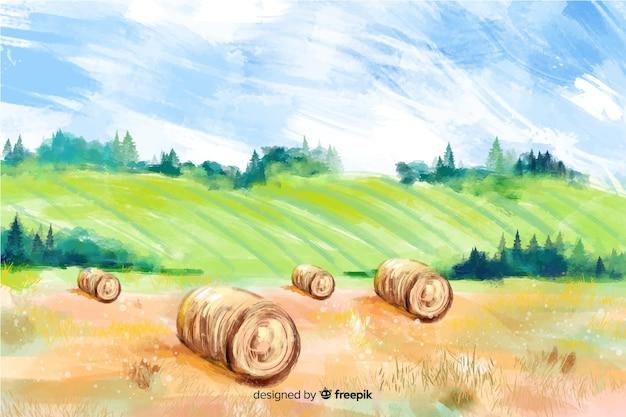 Watercolor farm landscape