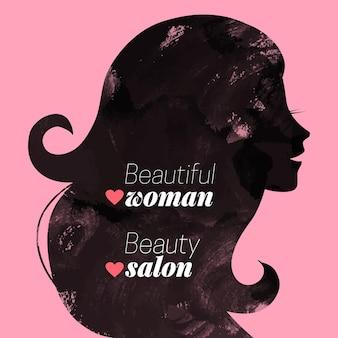 Watercolor fashion beautiful woman silhouette. vector illustration