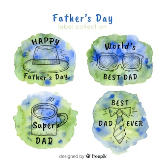 Watercolor father's day badge collection