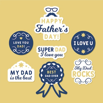 Watercolor father's day badges set