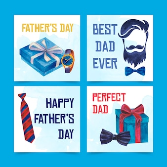 Watercolor father's day banners set