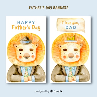 Watercolor father's day banners