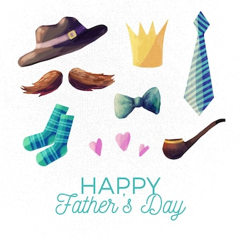 Watercolor father's day concept