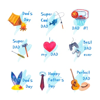 Watercolor father's day labels collection