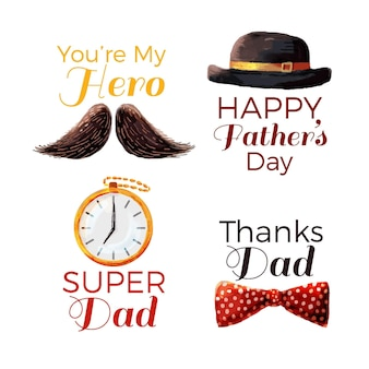 Watercolor father's day labels pack