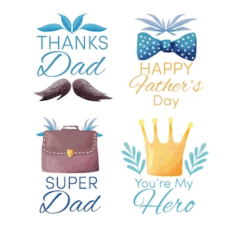 Watercolor father's day labels